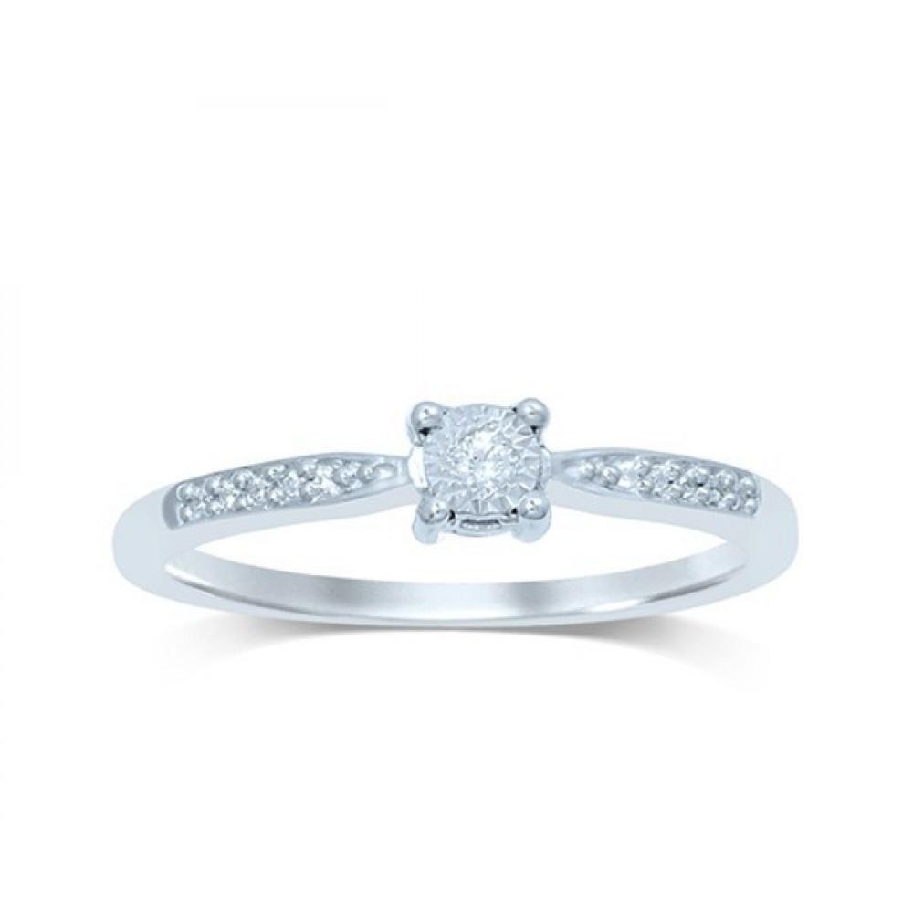 Witgouden damesring met diamant FROX3551G