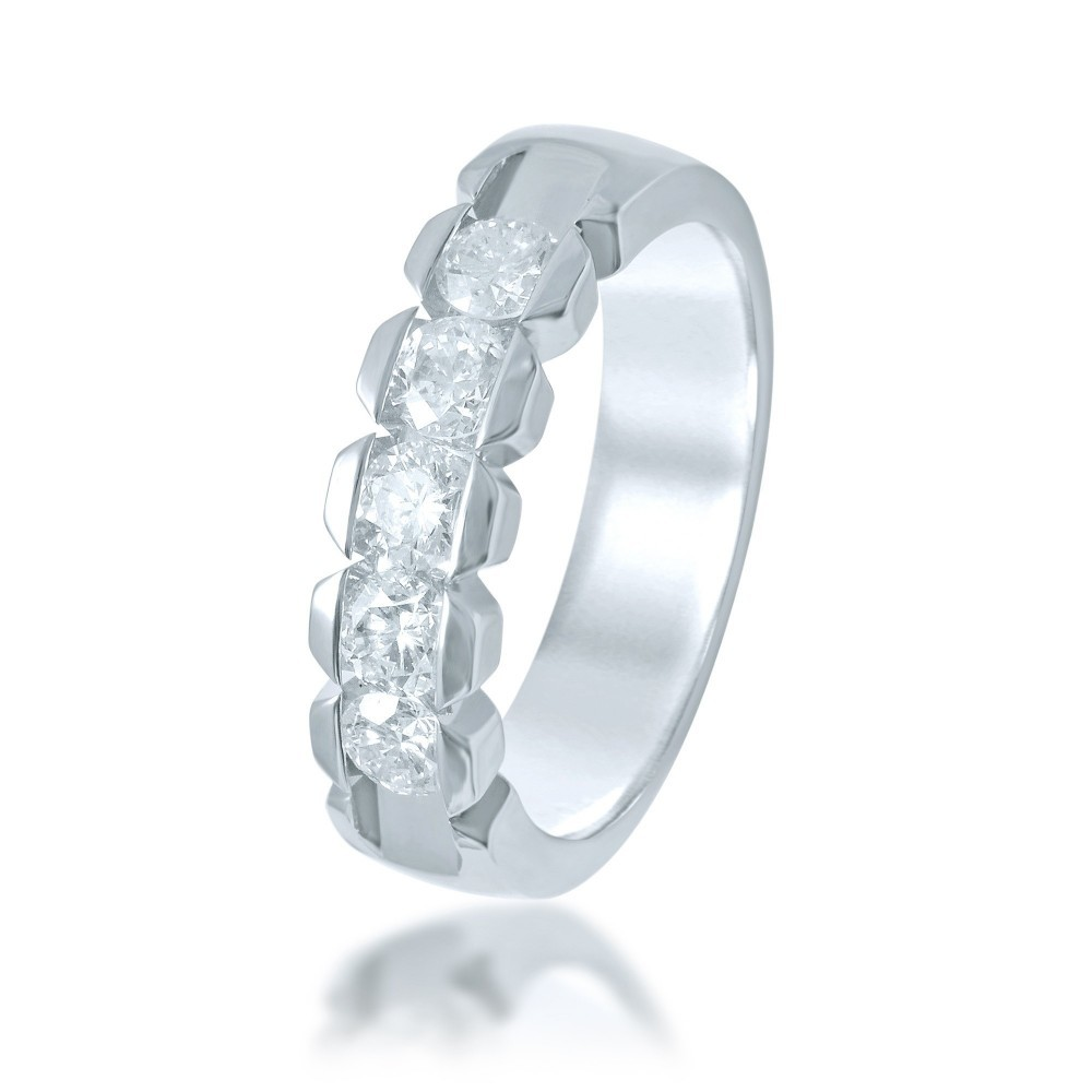 Witgouden damesring met diamant UFOC0141G5
