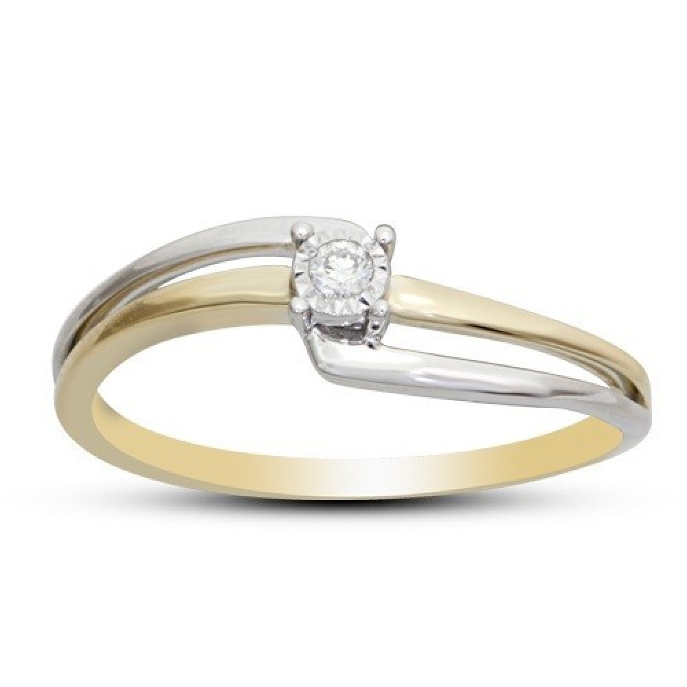 Gouden bicolor ring met diamant SOL-M499-005-G2