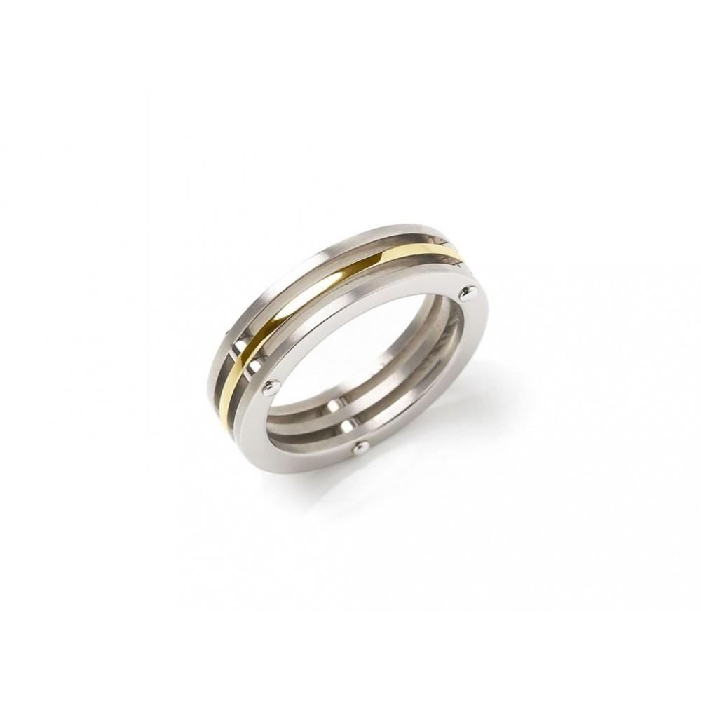 Bicolor ring met drie banen 0124-02