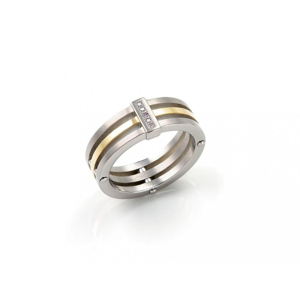 Bicolor ring met diamant 0126-02