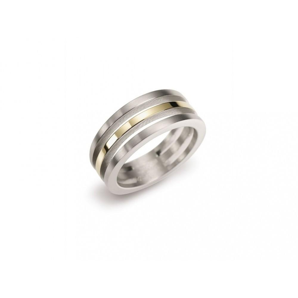 Bicolor ring met drie banen 0128-02