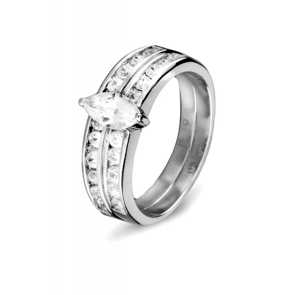 Zilveren damesring met zirkonia 625561014
