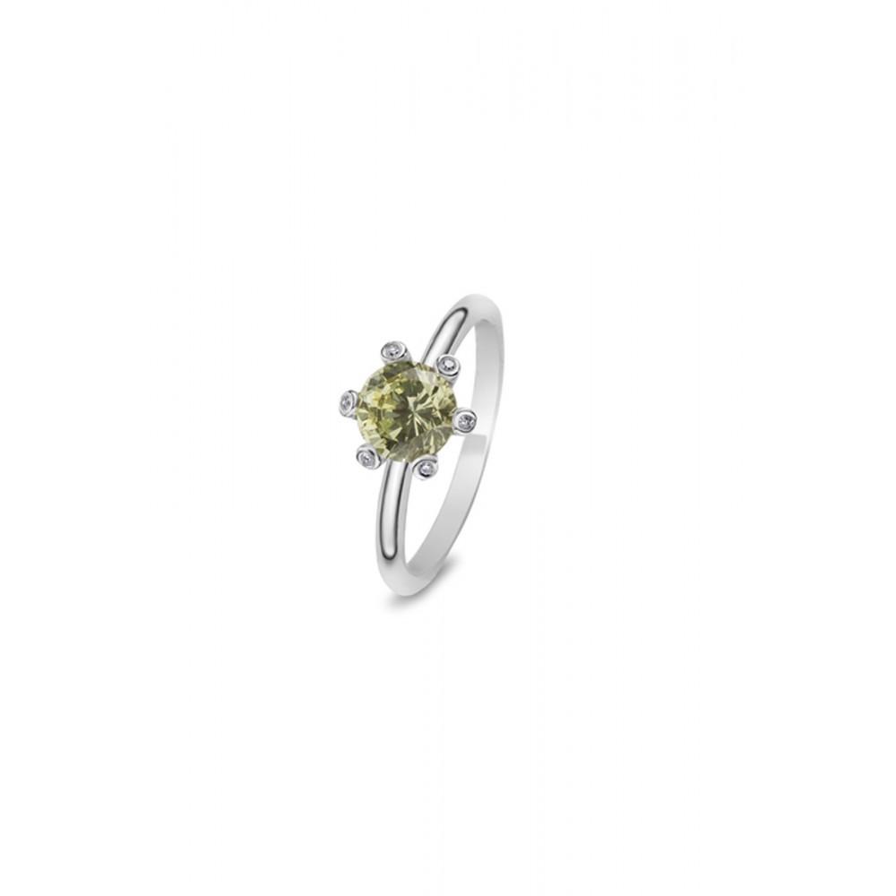 Zilveren Solitair ring met groene zirkonia 626651549