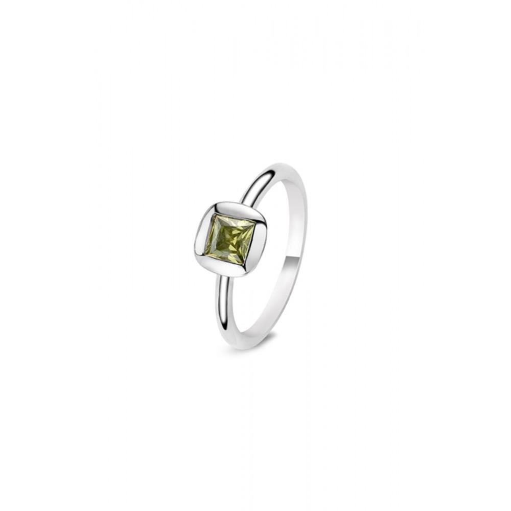 Zilveren ring met groene zirkonia 626652049