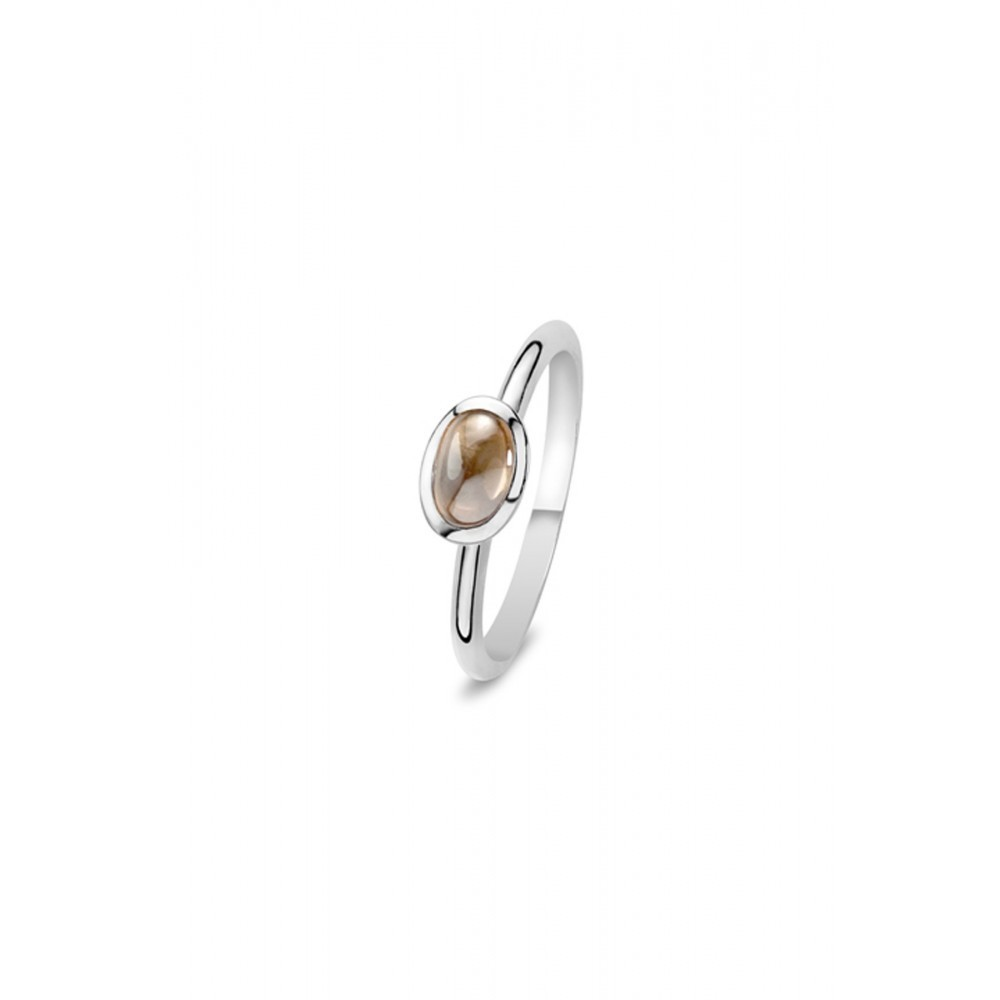 Zilveren Solitair ring met bruine zirkonia 626653549