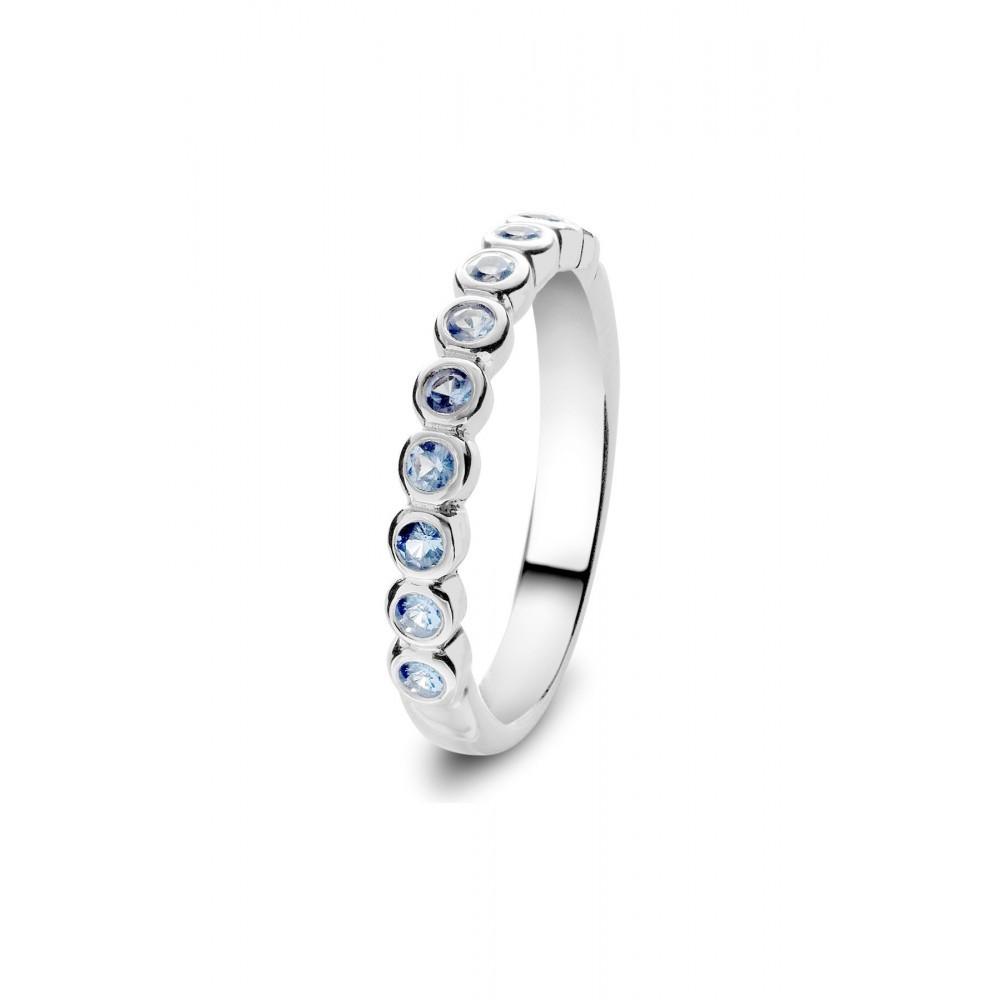 Zilveren RIJring met blauwe zirkonia 626653949