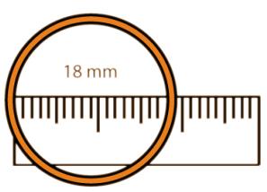 Ringmaat opmeten met liniaal